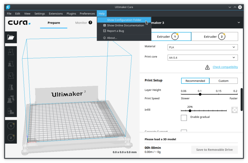 Screenshot of quick access to configuration folder of Cura