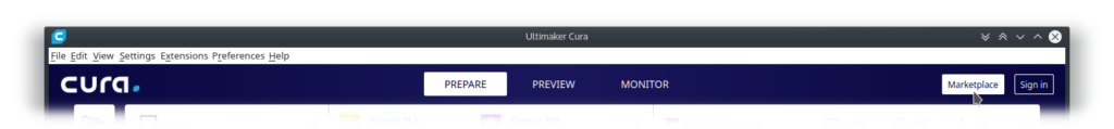 Screenshot of Ultimaker Cura's main window's head hovering marketplace button