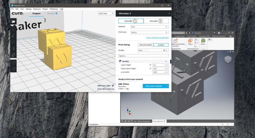 Screenshot of Cura Autodesk Inventor plugin