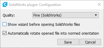 Screenshot of SolidWorks plugin's quality selection window