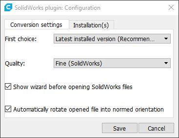 Screenshot of SolidWorks plugin's configuration window