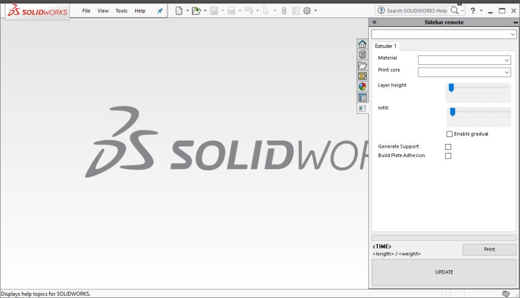 Screenshot of Cura Solidworks addon remote concept